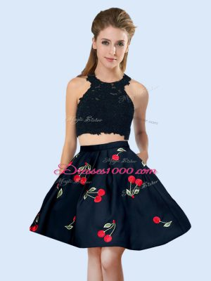 Black Sleeveless Satin Lace Up Quinceanera Dama Dress for Wedding Party