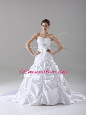 Strapless Sleeveless Bridal Gown Brush Train Beading and Pick Ups White Taffeta