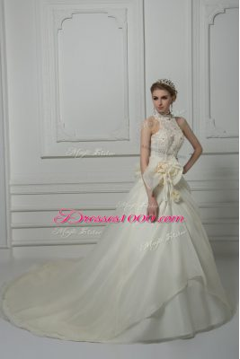 White Sleeveless Beading and Lace and Hand Made Flower Zipper Wedding Dresses