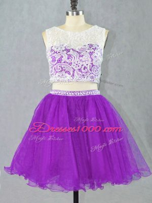 Eggplant Purple Two Pieces Appliques Cocktail Dresses Zipper Organza Sleeveless