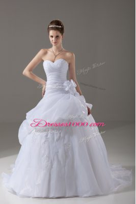 White Organza Lace Up Wedding Dress Sleeveless Brush Train Appliques and Hand Made Flower