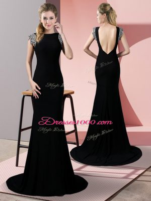 Black Elastic Woven Satin Backless High-neck Short Sleeves Brush Train Beading