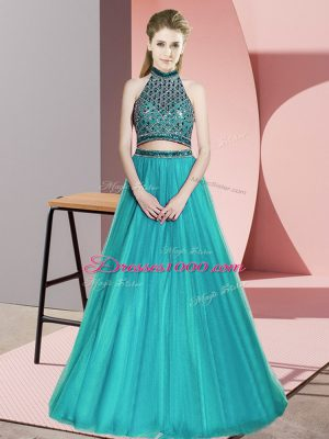 Luxury Sleeveless Tulle Floor Length Backless Pageant Dress in Teal with Beading