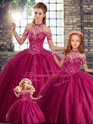 Comfortable Halter Top Sleeveless Quince Ball Gowns Brush Train Beading Fuchsia Tulle