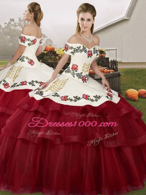 Fashion Wine Red Sleeveless Tulle Brush Train Lace Up Quinceanera Dress for Military Ball and Sweet 16 and Quinceanera