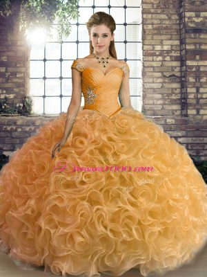 Delicate Gold Fabric With Rolling Flowers Lace Up 15 Quinceanera Dress Sleeveless Floor Length Beading