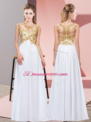 Beading and Appliques Bridesmaid Gown White Zipper Sleeveless Floor Length