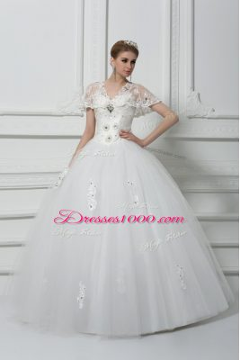 High Class Floor Length White Wedding Dress V-neck Short Sleeves Lace Up