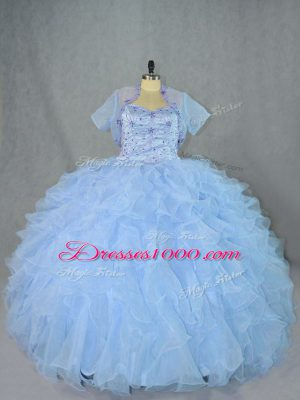 Sumptuous Blue Sleeveless Floor Length Beading and Ruffles Lace Up Quinceanera Dress