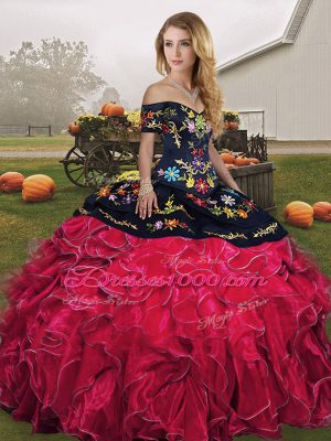 Excellent Floor Length Red And Black Quinceanera Dress Organza Sleeveless Embroidery and Ruffles
