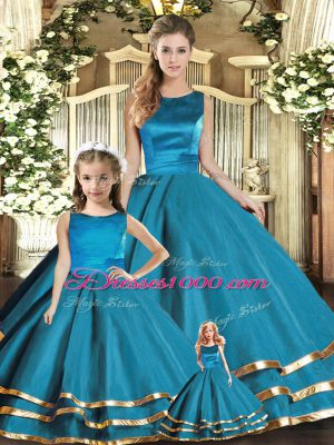 Teal Ball Gowns Scoop Sleeveless Tulle Floor Length Lace Up Ruffled Layers Ball Gown Prom Dress