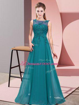 Cheap Floor Length Teal Dama Dress Scoop Sleeveless Zipper