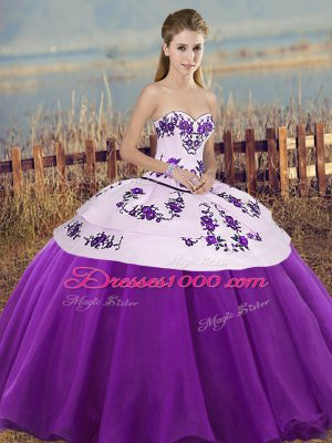 White And Purple Lace Up Sweetheart Embroidery and Bowknot Quinceanera Dresses Tulle Sleeveless