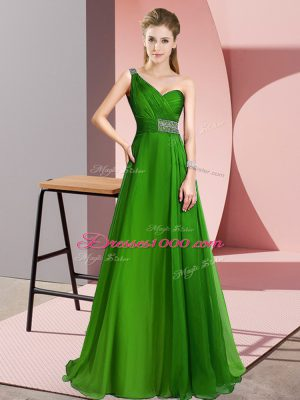 New Style One Shoulder Sleeveless Chiffon Going Out Dresses Beading Brush Train Criss Cross