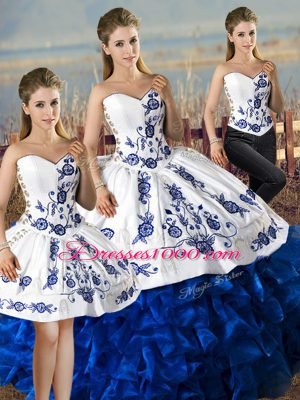 Latest Blue And White Sweetheart Lace Up Embroidery and Ruffles Vestidos de Quinceanera Sleeveless