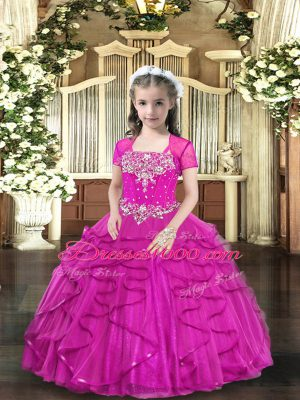 Fuchsia Straps Neckline Beading Little Girl Pageant Gowns Sleeveless Lace Up