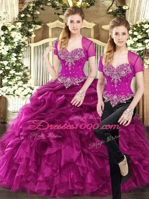 Elegant Organza Sweetheart Sleeveless Lace Up Beading and Ruffles and Pick Ups Quinceanera Gown in Fuchsia