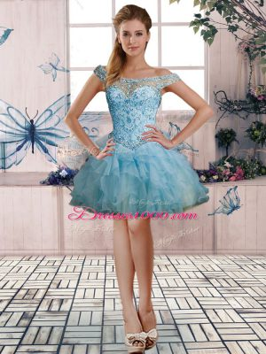 Great Light Blue Sleeveless Beading and Ruffles Mini Length Cocktail Dresses