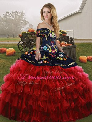 Fantastic Embroidery and Ruffled Layers Sweet 16 Dress Red And Black Lace Up Sleeveless Floor Length