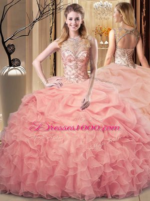Luxurious Peach Organza Lace Up Scoop Sleeveless Floor Length Vestidos de Quinceanera Beading and Ruffles and Pick Ups