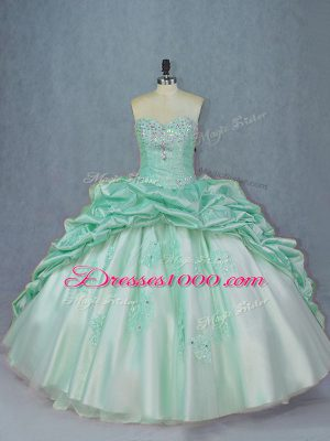 Traditional Sweetheart Sleeveless Brush Train Lace Up 15 Quinceanera Dress Apple Green Organza and Taffeta