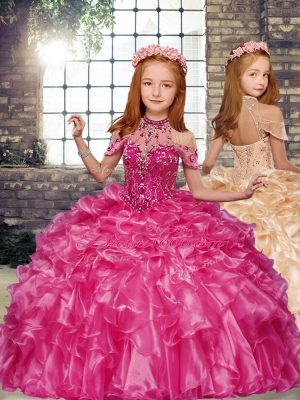High-neck Sleeveless Little Girl Pageant Dress Floor Length Beading and Ruffles Hot Pink Organza
