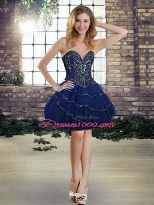 Navy Blue Celebrity Style Dress Prom and Party with Beading and Ruffled Layers Sweetheart Sleeveless Lace Up