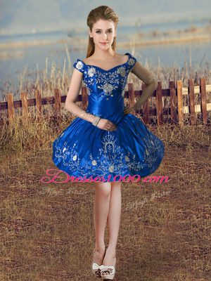 Romantic Royal Blue Sleeveless Taffeta Lace Up Homecoming Gowns for Prom and Party and Military Ball