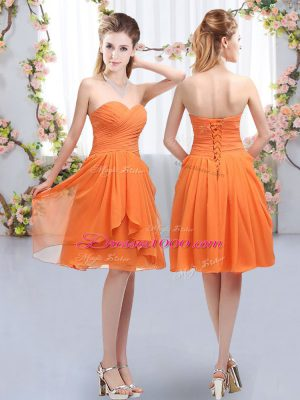 Deluxe Chiffon Sleeveless Knee Length Court Dresses for Sweet 16 and Ruffles and Ruching