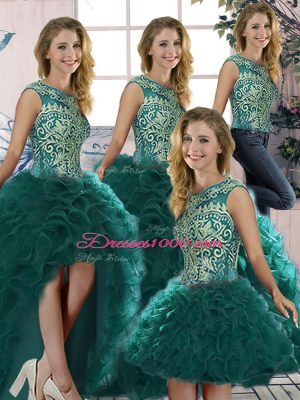 Edgy Peacock Green Sleeveless Organza Lace Up Sweet 16 Dress for Military Ball and Sweet 16 and Quinceanera