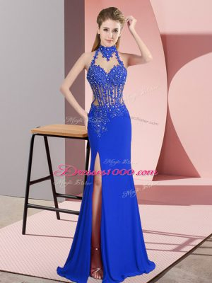 Superior Blue Column/Sheath Lace and Appliques Dress for Prom Backless Chiffon Sleeveless Floor Length
