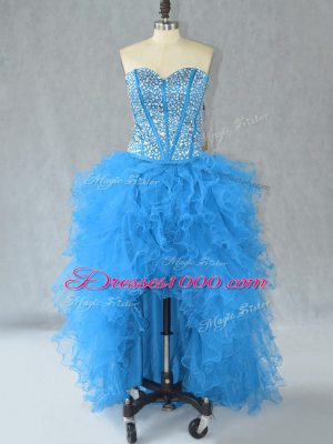 Aqua Blue A-line Beading and Ruffles Pageant Dresses Lace Up Organza Sleeveless High Low