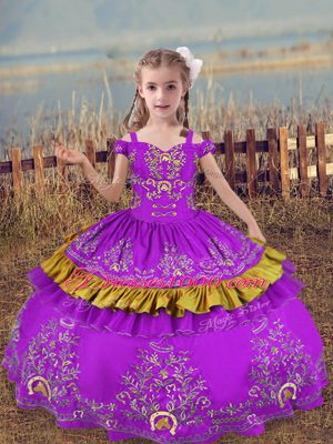 Classical Purple Sleeveless Beading and Embroidery Floor Length Little Girls Pageant Dress