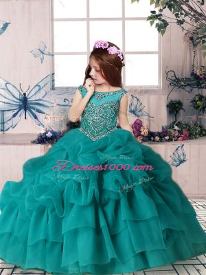 Floor Length Teal Girls Pageant Dresses Organza Sleeveless Beading and Pick Ups