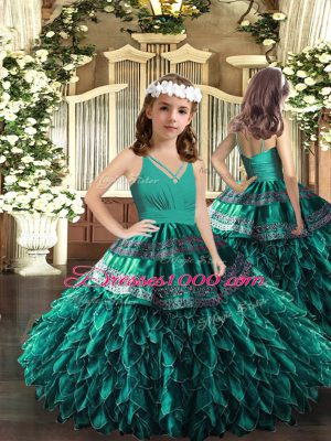 Glorious Ball Gowns Pageant Gowns For Girls Turquoise V-neck Organza Sleeveless Floor Length Zipper