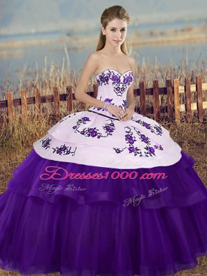 Affordable White And Purple Ball Gowns Embroidery and Bowknot Quince Ball Gowns Lace Up Tulle Sleeveless Floor Length