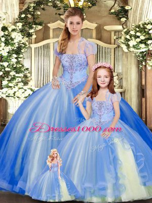 Blue Lace Up Strapless Beading and Ruffles Sweet 16 Quinceanera Dress Tulle Sleeveless