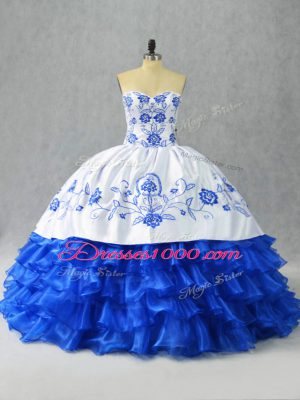 Clearance Blue And White Ball Gowns Sweetheart Sleeveless Satin and Organza Floor Length Lace Up Embroidery and Ruffled Layers Ball Gown Prom Dress