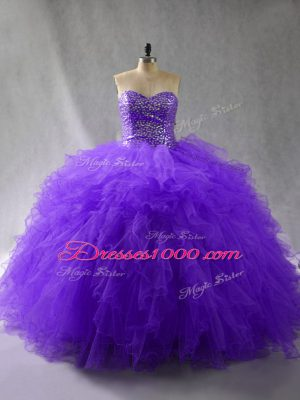 Lovely Sweetheart Sleeveless Tulle Quince Ball Gowns Beading and Ruffles Lace Up