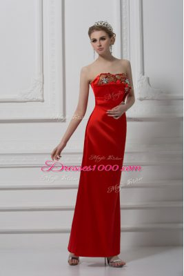 Graceful Red Satin Lace Up Teens Party Dress Sleeveless Ankle Length Beading and Appliques