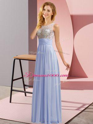 Latest Lavender Empire Chiffon Scoop Sleeveless Beading Floor Length Side Zipper Bridesmaids Dress