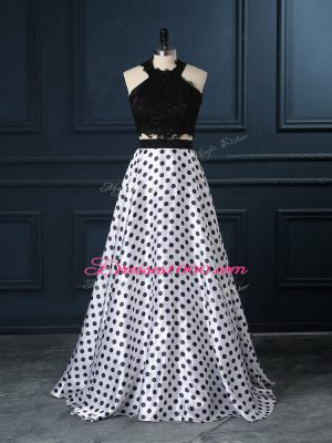 Pretty White And Black Sleeveless Lace Zipper Evening Dress