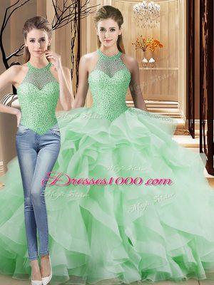 Edgy Apple Green Organza Lace Up 15th Birthday Dress Sleeveless Brush Train Beading and Ruffles