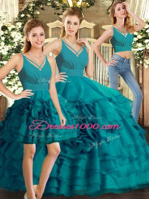 New Arrival Teal Ball Gowns Organza V-neck Sleeveless Ruffled Layers Floor Length Backless Quinceanera Dress