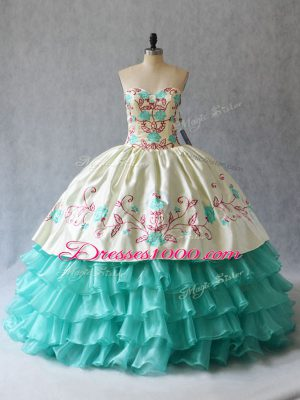 Edgy Aqua Blue Ball Gowns Embroidery and Ruffled Layers 15th Birthday Dress Lace Up Satin and Organza Sleeveless Floor Length
