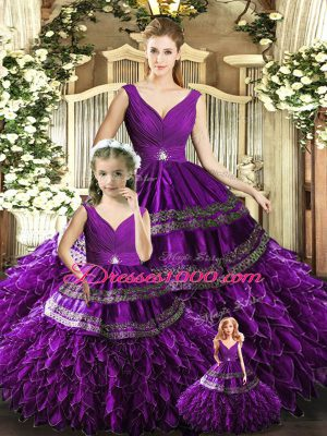 Beading and Embroidery and Ruffles Quinceanera Dresses Purple Backless Sleeveless Floor Length