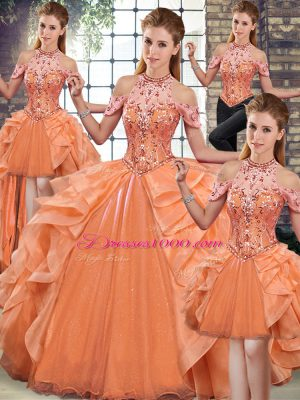 Organza Halter Top Sleeveless Lace Up Beading and Ruffles Quinceanera Dresses in Orange