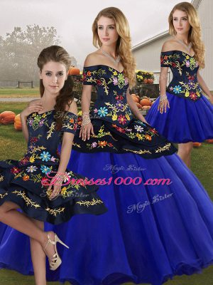Luxury Royal Blue Ball Gowns Tulle Off The Shoulder Sleeveless Embroidery Floor Length Lace Up Vestidos de Quinceanera