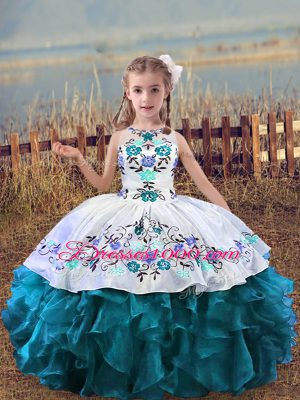Teal Scoop Neckline Embroidery and Ruffles Little Girls Pageant Dress Wholesale Sleeveless Lace Up