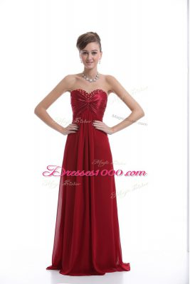 High End Empire Prom Gown Wine Red Sweetheart Chiffon Sleeveless Floor Length Lace Up